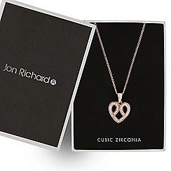 Jon Richard - Rose gold crystal embellished heart drop necklace