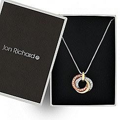 Jon Richard - Crystal encased triple tone entwined disc necklace