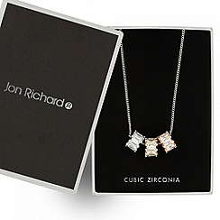 Jon Richard - Mixed metal cubic zirconia baguette triple drop necklace