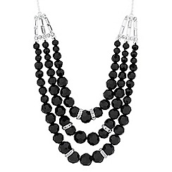 Jon Richard - Jet bead and crystal baguette triple row necklace