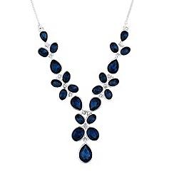 Jon Richard - Blue crystal flower y drop necklace