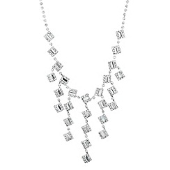 Jon Richard - Diamante crystal baguette cascading necklace