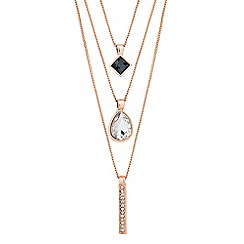 Jon Richard - Grey crystal and rose gold triple strand necklace