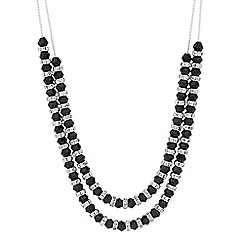 Jon Richard - Jet bead and crystal rondel double row necklace