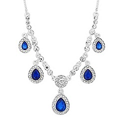 Alan Hannah Devoted - Designer blue crystal surround five peardrop necklace