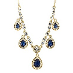 Alan Hannah Devoted - Designer Clara blue crystal peardrop shower necklace