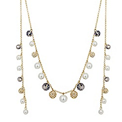 Jon Richard - Pearl and crystal ball wrap around choker necklace