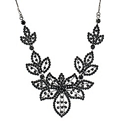 Jon Richard - Statement jet diamante embellished flower necklace