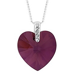 Jon Richard - Lilac shadow crystal heart drop necklace MADE WITH SWAROVSKI ELEMENTS