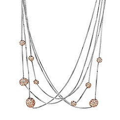 Jon Richard - Rose gold crystal ball multi row necklace