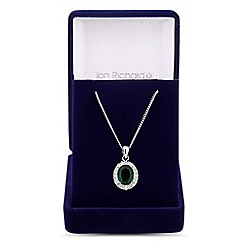 Jon Richard - Green cubic zirconia double surround drop necklace