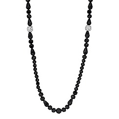 Jon Richard - Jet mixed bead and crystal ball long necklace