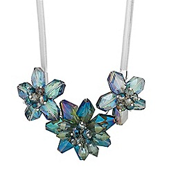 Jon Richard - Blue glass triple flower necklace