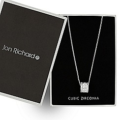 Jon Richard - Cubic zirconia square encased barrel necklace