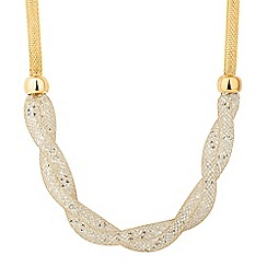 Jon Richard - Gold crystal mesh plait necklace