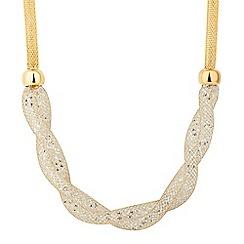 Jon Richard - Gold crystal mesh plait necklace