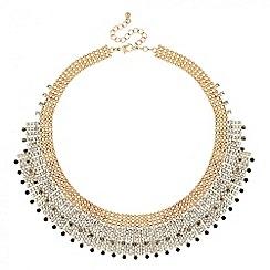 Jon Richard - Statement jet and diamante crystal bib necklace