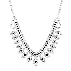 Jon Richard - Jet and diamante crystal navette cluster necklace