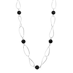 Jon Richard - Jet bead and silver interlink long necklace