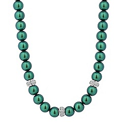 Jon Richard - Green pearl and crystal embellished disc necklace