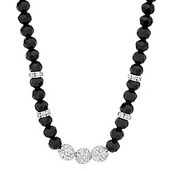 Jon Richard - Triple crystal ball and jet bead necklace