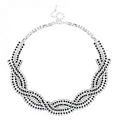 Jon Richard - Jet and diamante crystal plait necklace