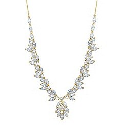 Jon Richard - Cubic zirconia leaf y drop necklace