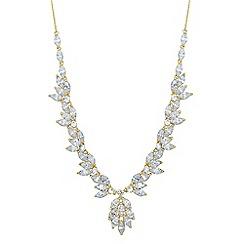 Jon Richard - Cubic zirconia leaf y drop necklace