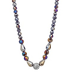Jon Richard - Graduated grey facet bead and crystal ball necklace