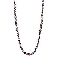 Jon Richard - Long grey facet bead and crystal ball necklace