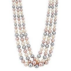 Jon Richard - Graduated triple tone three row pink pearl necklace