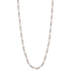 Jon Richard - Long triple tone pink pearl chain necklace