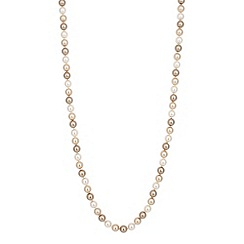 Jon Richard - Long triple tone champagne pearl chain necklace