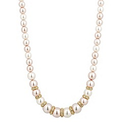 Jon Richard - Graduated triple tone pearl and crystal gold disc necklace