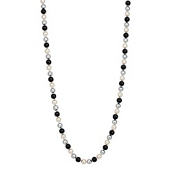 Jon Richard - Long triple tone jet pearl chain necklace