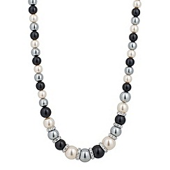 Jon Richard - Graduated triple tone pearl and crystal silver disc necklace
