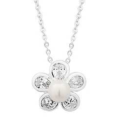 Jon Richard - Pearl and cubic zirconia daisy drop necklace