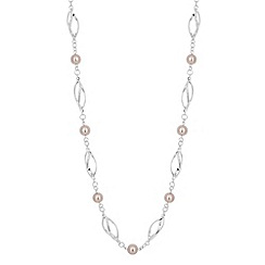 Jon Richard - Blush pink pearl and metal link necklace