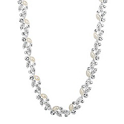 Jon Richard - Pearl and crystal encased leaf link necklace