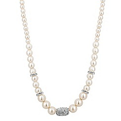 Jon Richard - Graduated cream pearl and crystal barrel necklace