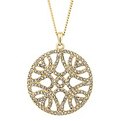 Jon Richard - Crystal embellished round filigree drop necklace