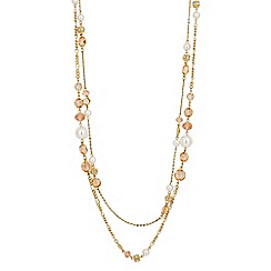 Jon Richard - Pink glass bead and pearl multi row necklace