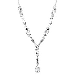 Alan Hannah Devoted - Designer crystal encased navette drop necklace