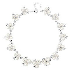 Alan Hannah Devoted - Designer trio pearl and crystal spray link necklace