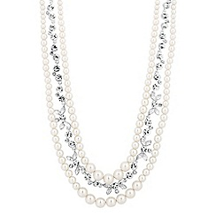 Alan Hannah Devoted - Designer crystal navette and pearl multi link necklace