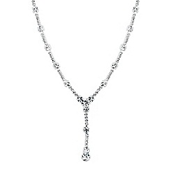 Jon Richard - Diamante crystal and bar y drop necklace