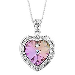 Jon Richard - Pink crystal heart surround drop necklace MADE WITH SWAROVSKI CRYSTALS