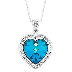 Jon Richard - Bermuda blue crystal heart surround drop necklace MADE WITH SWAROVSKI CRYSTALS