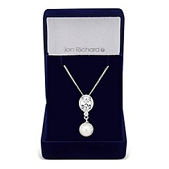 Jon Richard - Lily cubic zirconia and pearl pendant