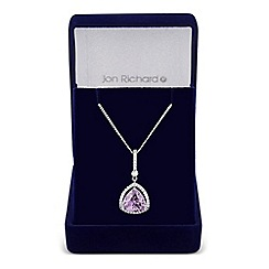 Jon Richard - Purple cubic zirconia triangular pendant necklace